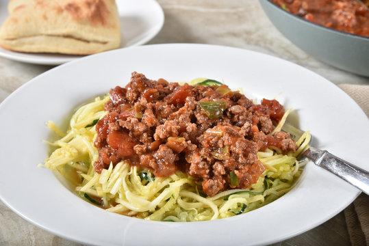Healthy zucchini noodle spaghetti