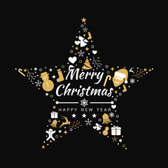 Merry Christmas background with element star icons banner, snowflakes. Vector illustration