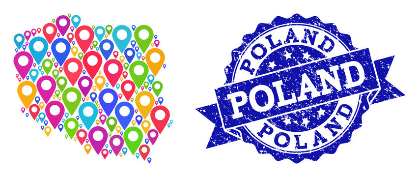 Compositions of bright map of Poland and grunge stamp seal. Mosaic vector map of Poland is composed with bright map markers. Abstract design elements for site advertisement.
