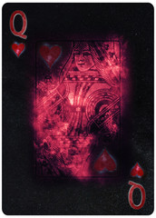 Queen of Hearts playing card Abstract Background