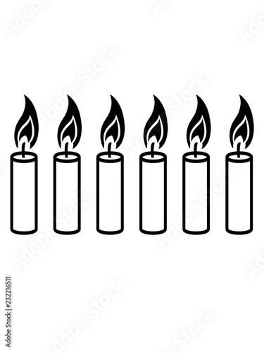 6 Kerzen Schwarz Cool Flamme Feuer Kerze Wachs Brennen Dekorativ