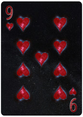 Nine of Hearts playing card Abstract Background