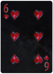 Six of Hearts playing card Abstract Background