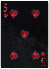 Five of Hearts playing card Abstract Background