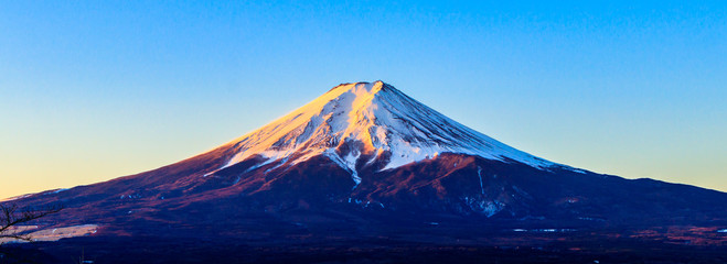 Mount fuji volcano in in the winter, Landmark of Japan