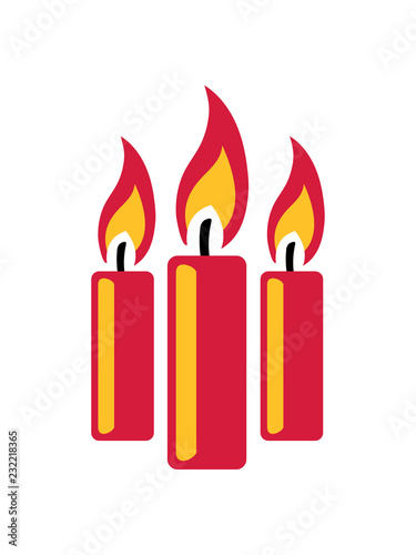3 Kerzen Flamme Feuer Kerze Wachs Brennen Dekorativ Design