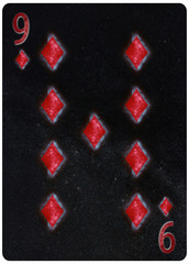 Nine of diamonds playing card Abstract Background