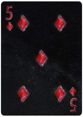 Five of diamonds playing card Abstract Background