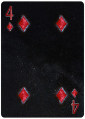 Four of diamonds playing card Abstract Background