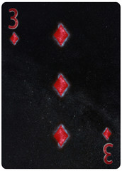 Three of diamonds playing card Abstract Background