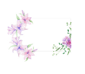 Floral frame with pink roses and decorative leaves. Watercolor Invitation design. Background to save the date.Greeting cards with pink flowers.
