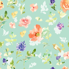 Seamless Floral Pattern. Repeating Watercolor Flower Background