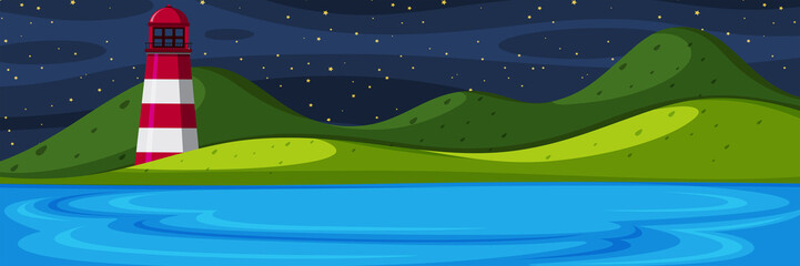 Nature island at night