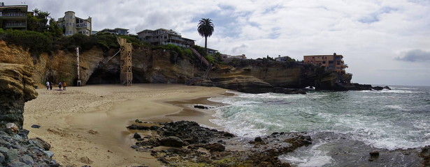 Panorama of a classic cove in Laguna Beach, California