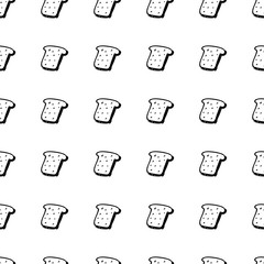Seamless pattern hand drawn bread. Doodle black sketch. Sign symbol. Decoration element. Isolated on white background. Flat design. Vector illustration