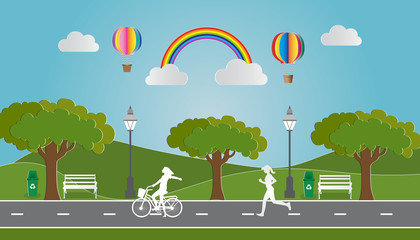 Paper art of landscape with eco green city and people running in city parks, Environmentally friendly world.  Vector illustration