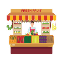 Fruit and vegetables retail business owner working in his own store.