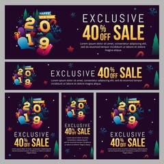 Banner, poster and template set decorated with trendy number for 2019 New Year celebration