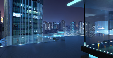 Modern glass balcony with Kuala Lumpur city skyline , night scene .Mixed media . Wall mural