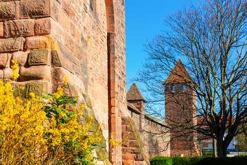 medieval Roman city wall with towers in Worms, Germany