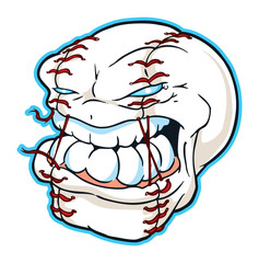 Baseball Mascot with Angry Face