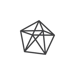 Dodecahedron geometrical figure outline icon. linear style sign for mobile concept and web design. Dodecahedron geometric shape simple line vector icon. Symbol, logo illustration. Pixel perfect vector