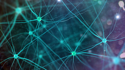 Neurons in the brain on white background (3d illustration)