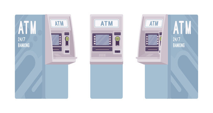 Automated teller machine in a light blue color
