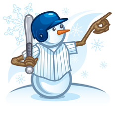 Snowman Baseball Player Calling His Shot