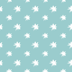 Stars seamless pattern childish drawing for baby and kids fashion background. Blue and white colorful vector illustration.