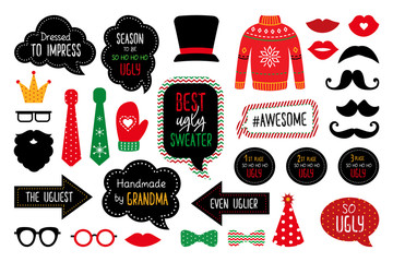 Ugly Christmas sweater party  photo booth props Wall mural