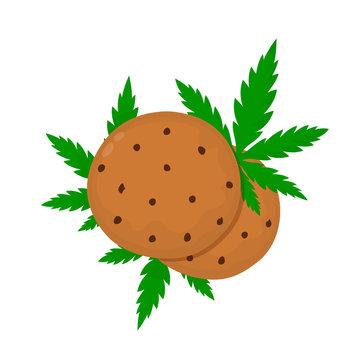 Chocolate cookies with marijuana leaf