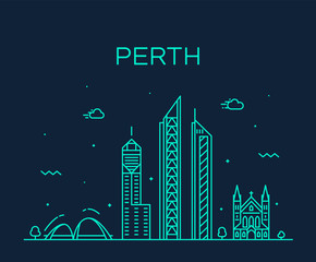 Fotomurales - Perth city skyline Western Australia vector linear