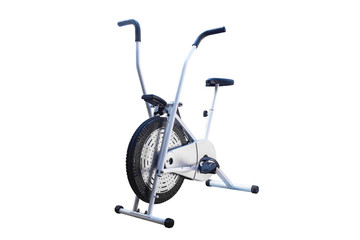 cycling spin Bike Fitness isolated with clipping path on white background