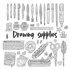 Drawing accessories outline vector set. Doodle color drawing supplies for school and office.