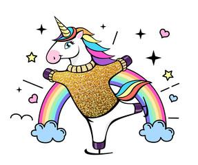 Vector illustration of fantasy skating unicorn. Cartoon style design