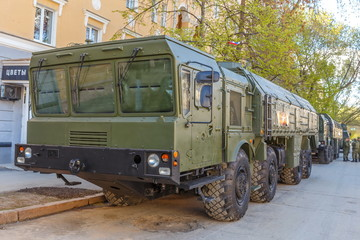 Russia, Samara, May 2017: The Iskander anti-aircraft missile system on a city street prepared for the Victory Day parade on a spring sunny day.