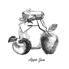 Apple jam.Hand drawn illustration. Ink sketch of canning apples, isolated on white background.