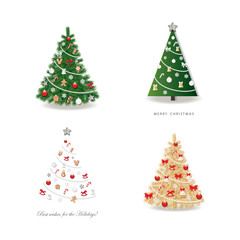 Christmas tree decorated set. Realistic, golden and simple paper cut out.