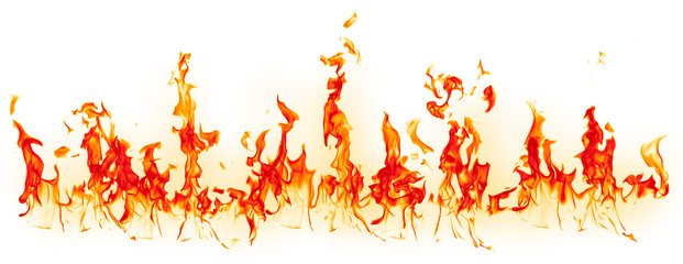 Fire - the line of fire created by excellent flames on a horizontal surface - a large set of fiery elements on a white background