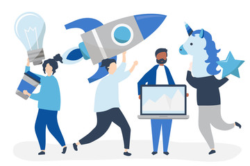 People characters holding creative business concept icons