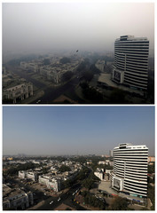 A combination picture shows buildings shrouded in smog in New Delhi