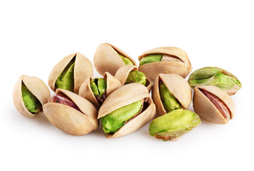 Pistachios isolated on a white background.