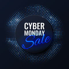 Cyber Monday Sale technology background in neon style, luminous signboard, nightly advertising advertisement of sales rebates of cyber Monday. Vector futuristic label design template