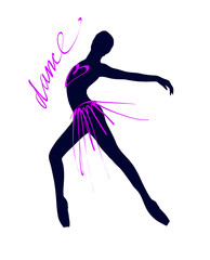 Silhouette of a dancing girl. Ballet Dancer girl isolated. Vector illustration hand drawn,.