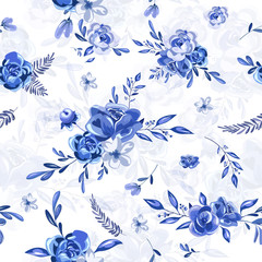 Seamless blue floral pattern.
