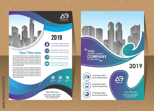 newest f0489 85deb Front and back cover of a modern business brochure layout or flyer ...