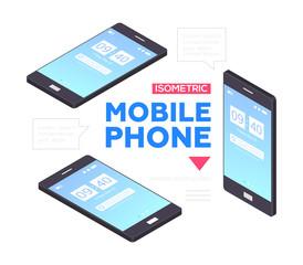 Mobile phones banner - modern vector isometric illustration