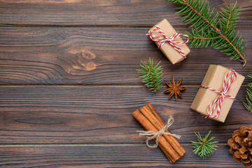 Christmas background with copy space, top view. holiday concept for you design on wooden table