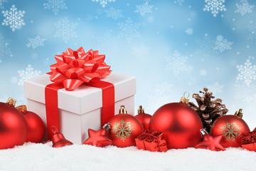 Weihnachten Geschenke Weihnachtsgeschenke Dekoration Hintergrund Winter Schnee Schneeflocken Textfreiraum
